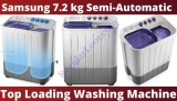 Samsung 7.2 kg Semi-Automatic Top Loading Washing Machine (WT725QPNDMPXTL, White and Blue, Center Jet Pulsator)